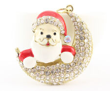 Red Santa Claus Moon Cute Christmas Holiday Gift Present Keychain Purse 01299