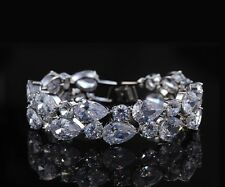 14k White Gold Bracelet made w/ Auth Swarovski Crystal Clear Stone Bridal Prom