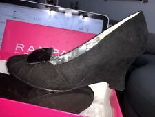 RAMPAGE funky heel slip-on Wedge In Black Suede with Suede Bow