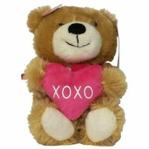 Cuddle Barn Valentine Adorable Talking Sweetheart Bear -Tan