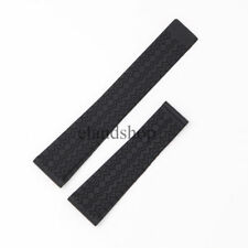 22mm Black Waterproof Silicone Rubber Wrist Watch Band For Tag Seamaster Watch