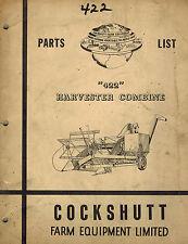 COCKSHUTT 422  COMBINE PARTS  MANUAL