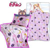 Cute Sailor Moon Luna Cat Flannel Blanket Bed Rug Anime Plush Sheets Pillow Case