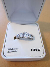 DiamonLuxe Cubic Zirconia Statement Ring 7 Sterling Silver 2.47 CTTW Simulated
