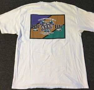 Vtg 90s Super Bowl XXXI 31 Shirt XL Patriots Packers Superdome Miller Lite Beer