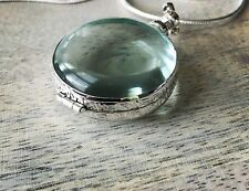"""Sterling silver handcrafted Round antique glass locket Pendant Brand New 1 1/2"""""""