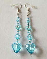 New Handmade Turquoise Blue Acrylic Heart and Seed Beaded Dangle Drop Earrings