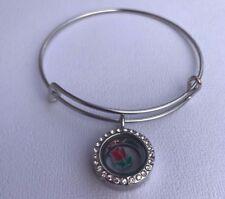 20 mm Living Memory Crystal Locket Floating Charm Bracelet Expandable Bangle