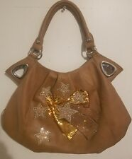 Rhinestone Studded XL Fashion Bling Beige  Shooting Stars Shoulder Tote Bag