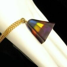 Vintage Lucite Rainbow Prism Pendant Necklace Pyramid Original Box Red Blue