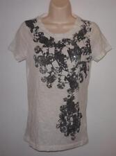 """New J. Crew Ivory Sequins Tee Knit Top Size S XS Bust 33"""" Semi-sheer NWT"""