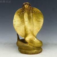 Chinese antique handmade brass statue fengshui lucky cobra snake