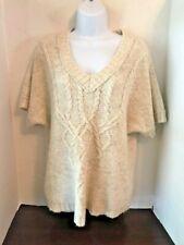 ANN TAYLOR LOFT PETITES Women's Short Sleeve Ivory Chunky Knit Sweater Tunic PL