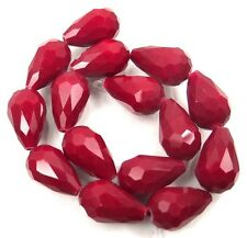 15x10mm Opaque Ruby Glass Quartz Faceted Teardrop Beads (15)