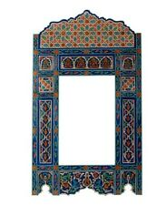 """hand painted, hanging mirror, wall art, farmhouse Blue Vintage, 46"""" x 26"""""""