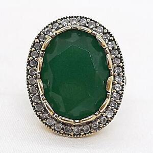 Deco 11.50ctw Emerald & Diamond Cut White Sapphire 14K Yellow Gold 925 Ring SZ 8