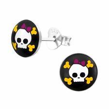Children's Skull and Bones Black Stud Earrings