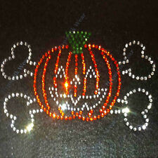 "Rhinestone Transfer "" Halloween Pumpkin Skull "" Iron On, Hotfix"