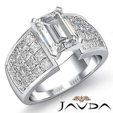 Emerald Diamante de Compromiso GIA G VS2 Platino Princesa Invisible Set Anillo