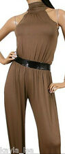 Brown Open Back Jumper/Jump/Cat Suit Cropped Pants S