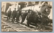 LOCOMOTIVE w/ CREW ANTIQUE REAL PHOTO POSTCARD RPPC railway railroad