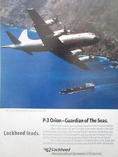 7/1994 PUB LOCKHEED P-3 ORION NAVY ASW MARITIME PATROL AIRCRAFT ORIGINAL AD