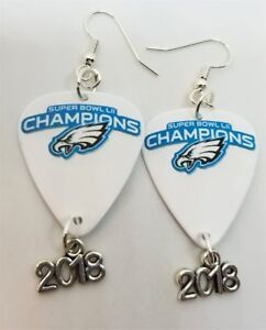 NFL Eagles Superbowl Guitar Pick Earrings with 2018 Charms