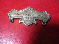 Antique Masonic Metal Plate Springfield Lodge 218