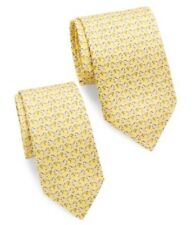 295$ Salvatore Ferragamo Matching Set of  2 Ties Zebra Print Yellow Silk