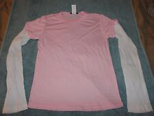 New Juniors Pink Layered Long Sleeve T-Shirt size S by Junk Food Brand