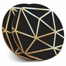 2 x Coasters - Black & Gold Abstract Art Deco Home Gift #21228