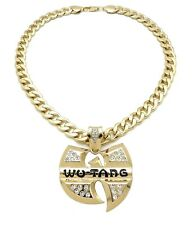"""Men's Hip Hop Wu Tang Pendant With 11mm 24"""" Cuban Link Chain 14k Gold Plated"""