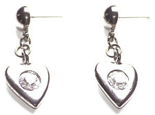 Love Is in the Air- Diamante Centre & Gun Metal Love Heart Stud Earrings(Zx295)