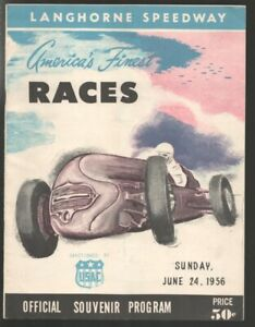 Langhorne Speedway USAC Auto Race Program 6/24/1956-Indy cars-Dick Rathman-Ji...
