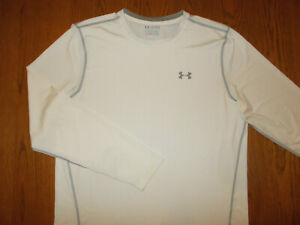 UNDER ARMOUR HEAT GEAR LONG SLEEVE WHITE FITTED ATHLETIC SHIRT MENS 2XL EXCELL
