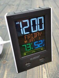 LA CROSSE Technology Alarm Clock Charging Station model C86224 2 USB WHITE