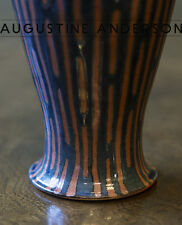 VINTAGE COBALT BLUE & CLAY STUDIO POTTERY ART CERAMIC VASE SIGNED,LOVELY DESIGN!
