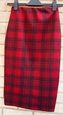 RED BLACK CHECK CHECKED TARTAN TUBE BODYCON BANDAGE PENCIL SKIRT 8 S