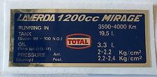 Laverda 1200 Mirage Reifen und Kapazitäten Achtung Warn Aufkleber