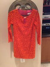 Trina Turk Size 0 Orange Lace Long Sleeve Tunic Dress #5
