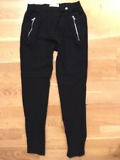 Sandro Paris Zip Pants Black Trousers 26-28w Chiffon Crepe