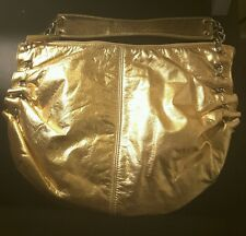 Park Avenue New York women's gold metallic baguette hobo handbag purse