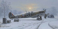 P West Spitfire print Winter of 41 signed by RAF Battle of Britain pilot Wellum