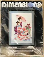 "Vintage Dimensions ""Graceful Geishas"" Crewel Kit #1373 G Eriksen Complete 1989"