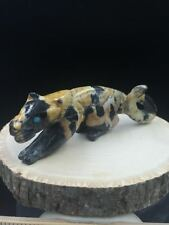 Zuni fetish/Leopard Marble Cougar/Lance Cheama/Zuni Fetishes Carving #E407