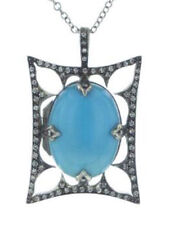 2.10cts Rose Cut Diamond Turquoise Antique Victorian Look 925 Silver Pendant