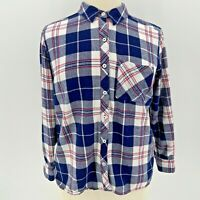 Woolrich White Blue Red Plaid Flannel Button Shirt Women's Size XXL