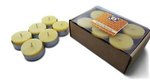 12 Natural Honey Scented Beeswax Tea Light Candles, Cotton Wick, Aluminum Cup