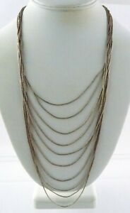 Southwest Unmarked Liquid Sterling Silver Necklace 10 Strands 28.8g 18.75 Inches