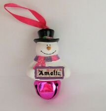 25319 AMELIA NAME FROSTY SNOWMAN COLOURED BELL CHRISTMAS TREE DECORATION GIFT